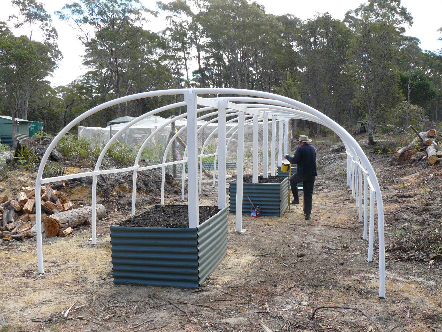 Building our poly tunnel greenhouse banksia hollow for Cost to build a house in iowa